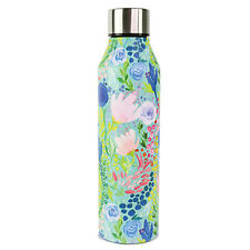 Tropical Mix Floral Blue 17 ounce Stainless Steel Metal Sports Water Bottle