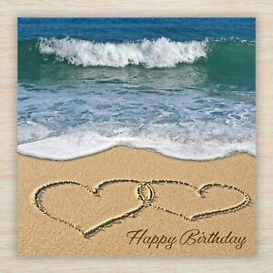 "Birthday Card suit Husband Wife Boyfriend Girlfriend  ""Love Hearts on the Beach"""