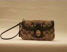Coach Jacquard Fabric Wristlet Clutch Trimmed in Brown Leather