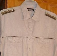 Vintage H.I.S Beige SHIRT w/ Striped Corduroy Epaulets; 2 Pockets; Long /S XL