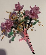 French Beaded Glass Flowers Handmade Wedding Bouquet