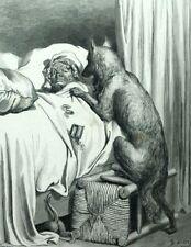 Le Chaperon rouge Grand mère et le Loup Perrault Gravure de Gustave Doré.