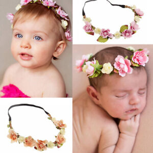 Baby Hair Wreath Wedding Party Flower Crown Kids Hairband Hair Accessories F b