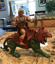 Masters of the Universe He-Man MOTU Lot Battle Cat & Heman With Armor & Weapons