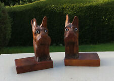 A Pair of Vintage Carved Wooden Book Ends - Scottie Dogs / Scottish Terriers
