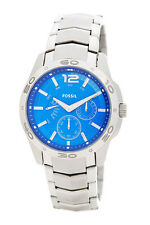 NEW FOSSIL SILVER TONE,BLUE DIAL,STAINLESS STEEL,CHRONO BRACELET WATCH-BQ9420