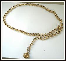 Ceinture chaine Yves st laurent métal doré vintage 36/38 80/85 jewelry belt dres