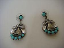 BEN AMUN Turquoise Swarovski Crystal Drop Earrings