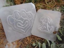 """1 paw mold 3.25""""   1  dog mold 2.25""""  poly plastic moulds  1 each"""