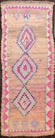Geometric Semi Antique Moroccan Hand-knotted Oriental Runner Rug Plush WOOL 5x12