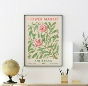 Flower Market Poster, Amsterdam, Floral Art Print, Flower Gift, Wall Art Decor