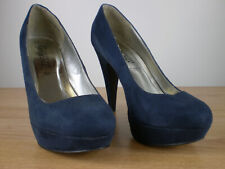 NEW LOOK, YOUR FEET LOOK GORGEOUS Navy Suedette Platform Court Shoes Size UK 4