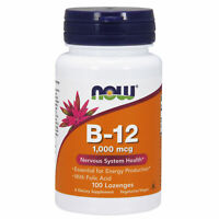 NOW Foods B12 1000mcg 100 Lozenges | Nervous System Health | Tiredness Fatigue