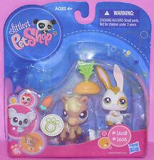 Horse & Bunny Carrot Top  #1605 1606 littlest pet shop Easter NEW