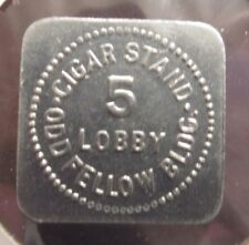 Cigar Stand Odd Fellow Bldg. Indianapolis, IN 5c Square Trade Token - Indiana
