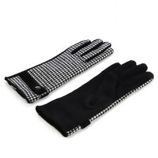 Elegant Black & White Houndstooth Women's Winter Thermal Wool Gloves