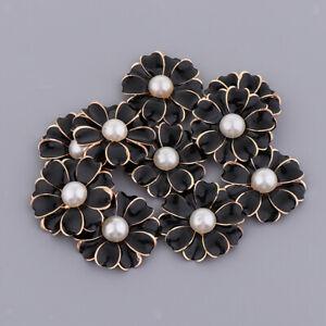 10x Pearl Rhinestone Craft Crystal Flatback Flower Button for Wedding 2#