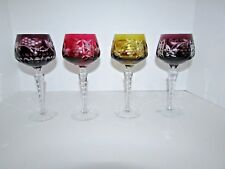 Lot of 4 Cut to Clear Crystal Wine Glasses Grape Design Nachtmann? #51