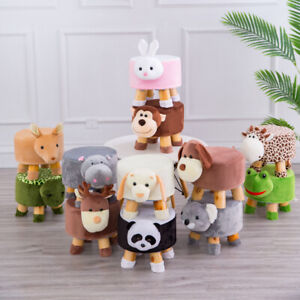 Luxury Wooden Animal Padded Foot Stool Ottoman Pouf Chair For Kids Teens Adults