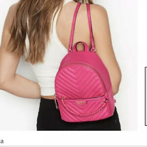 VICTORIA'S SECRET Studded V-Quilt Black Small City Backpack NEW W TAGS Fuchsia