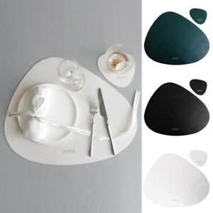 Placemat Faux leather Tableware Mat Non-slip Home Table Pad Protector Roll Up