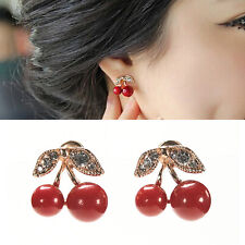 Women Charm Red Cherry Earrings Cute Beads Rhinestone Leaf Stud Earrings  LJ