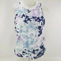NWT Flirtitude Active Women's Tank Top Shirt Blue Tie Dye Crew Neck S Small