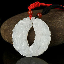 1 Pair China Natural White Jade Pendant Hand Carved Amulet Dragon Phoenix Lovers