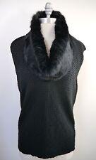 ARMANI COLLEZIONI black wool blend genuine fur cowl-neck sweater size 10