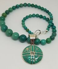 Jay King DTR Sterling Silver Graduated Turquoise Bead Necklace Large Pendant