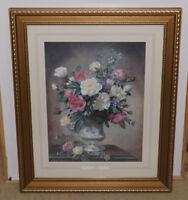 Large Vintage Wood & Glass Framed Art Print Floral ~ ROSES ~ by Albert Williams