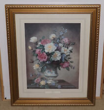 Large Vintage Wood & Glass Framed Art Print Floral ~ ROSES ~ by Albert Williams