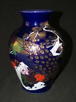 """Lovely Vintage Japanese Blue Cobalt Vase w/ Peacock Design 10"""" Tall"""