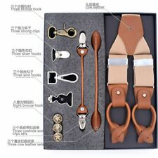 Man Suspenders Genuine Leather Spandex Multifunction Fashion Strap Braces 120Cm