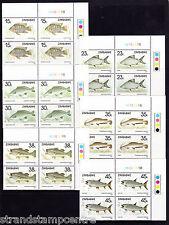 Zimbabwe - 1989 Fishes (1st Series) - U/M - CORNER BLOCKS of FOUR - SG 756-61