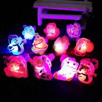 Lot Kids LED Flashing Glow in Dark Finger Light Ring Xmas Party Favor Toy Gift