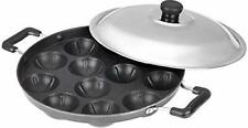 Non-Stick 12 Cavity Appam (Pancake) Patra Side Handle with lid, Color May Vary