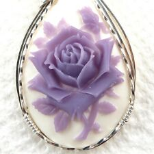 Purple Rose Cameo Pendant .925 Sterling Silver Jewelry Resin