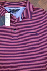 NWT Brooks Brothers Performance Polo Shirt Dark Pink - Blue Stripe Men's XL