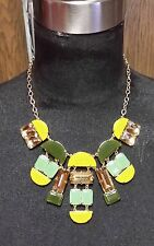 Kate Spade-Varadero Tile Necklace-Dirty Martini Multi NEON YELLOW OLIVE