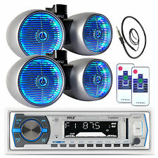 "Pyle USB Bluetooth Boat Radio, Marine Antenna, 2 Pyle 6.5"" Tower LED Speaker Set"