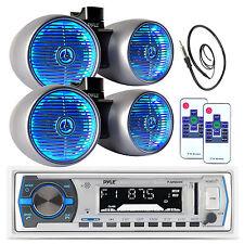 "Pyle USB Bluetooth Boat Radio, Marine Antenna, 2 Pyle 6.5"" Tower LED Speaker Set"