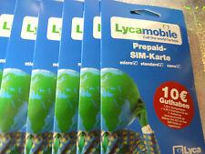 1 x Lycamobile Prepaid-Sim-Karte Micro,Standard,Nano 10€ Guthaben