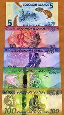 Complete SET Solomon Islands, $5;10;20;50;100, ND (2013-2019), UNC