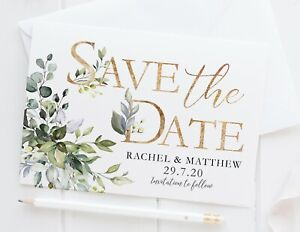 10 PERSONALISED SAVE THE DATE CARDS - GREEN FOLIAGE - EUCALYPTUS