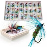 96pcs  Trout Baits Dry Fly Fishing Tackle Hooks Streamer Lure Kit w/ Case Box US