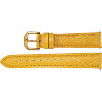 New Yellow Leather Watch Band Lizard Padded 16mm Long Ladies 26512162 2-Strap