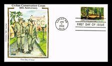 CIVILIAN CONSERVATION CORPS 50TH ANNIVERSARY FDC COLORANO SILK CACHET US COVER