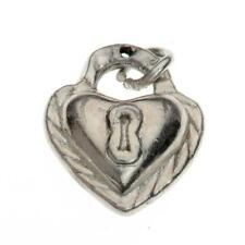 Vintage Sterling Silver Heart Lock Charm for Bracelet or Pendant 925 1.5g Z-269