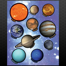 Solar System Wall Decals 9 Planets + Sun Solar sytem kids bedroom fun stickers